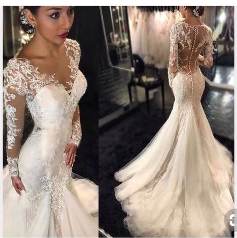 Trumpet/Mermaid V neck Lace Wedding Dresses Romantic Tulle Wedding Dress Bridal Gowns AMY3029