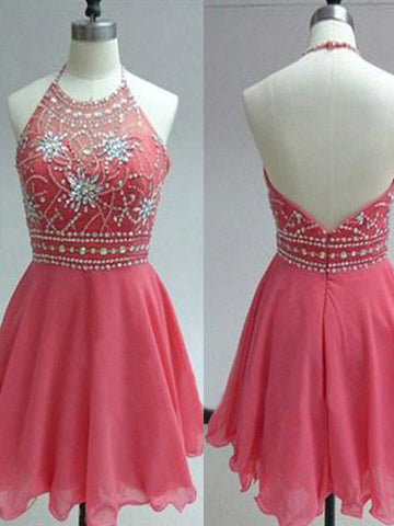 halter prom dresses,Watermelon A-line Halter Short Mini Chiffon Homecoming Dress Short Prom Dresses SP8141
