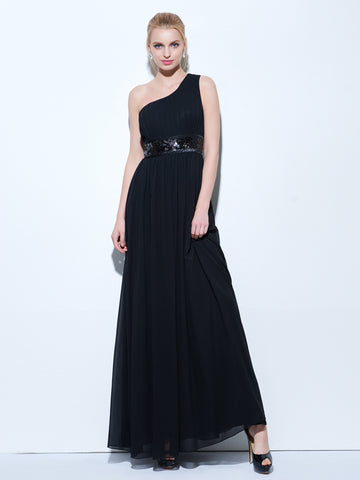 Chic Prom Dresses Long A line One Shoulder Chiffon Black Prom Dress Party Dresses 271494