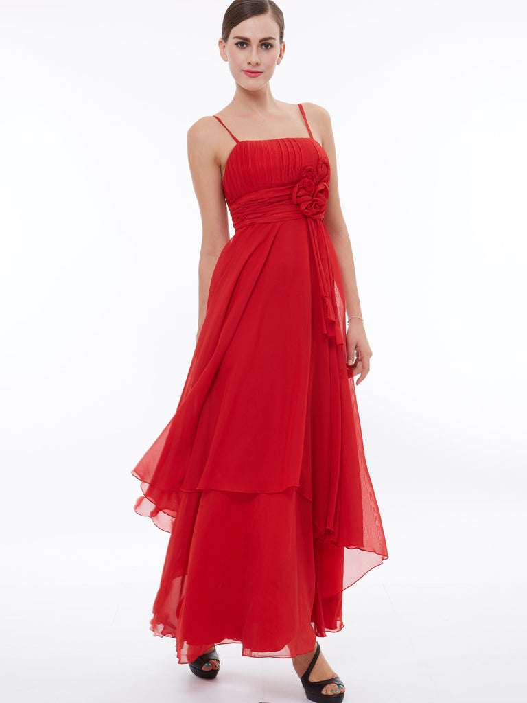 Simple And Cheap Living Room Decoration: Chic A-line Prom Dresses Ankle-length Red Simple Chiffon
