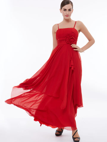 Chic A-line Prom Dresses Ankle-length Red Simple Chiffon Cheap Prom Dress With Beading 300557
