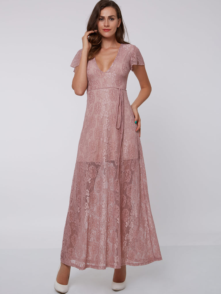 dc4b39874ef6 Chic Prom Dresses Long A line Vneck Lace Short Sleeve Pink Prom Dress –  AmyProm