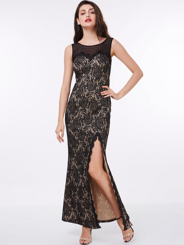 Chic Sheath/Column Prom Dresses Black Long Modest Cheap Prom Dress With Lace 309354
