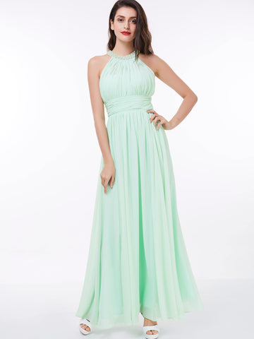 Chic Prom Dresses Long A line Scoop Chiffon Simple Prom Dress Party Dresses 327867