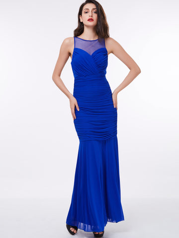 Chic Sheath/Column Prom Dresses Royal Blue Long Modest Cheap Prom Dress 328036