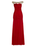 Chic Sheath/Column Prom Dresses Ankle-length Chiffon Simple Prom Dress With Beading 347442