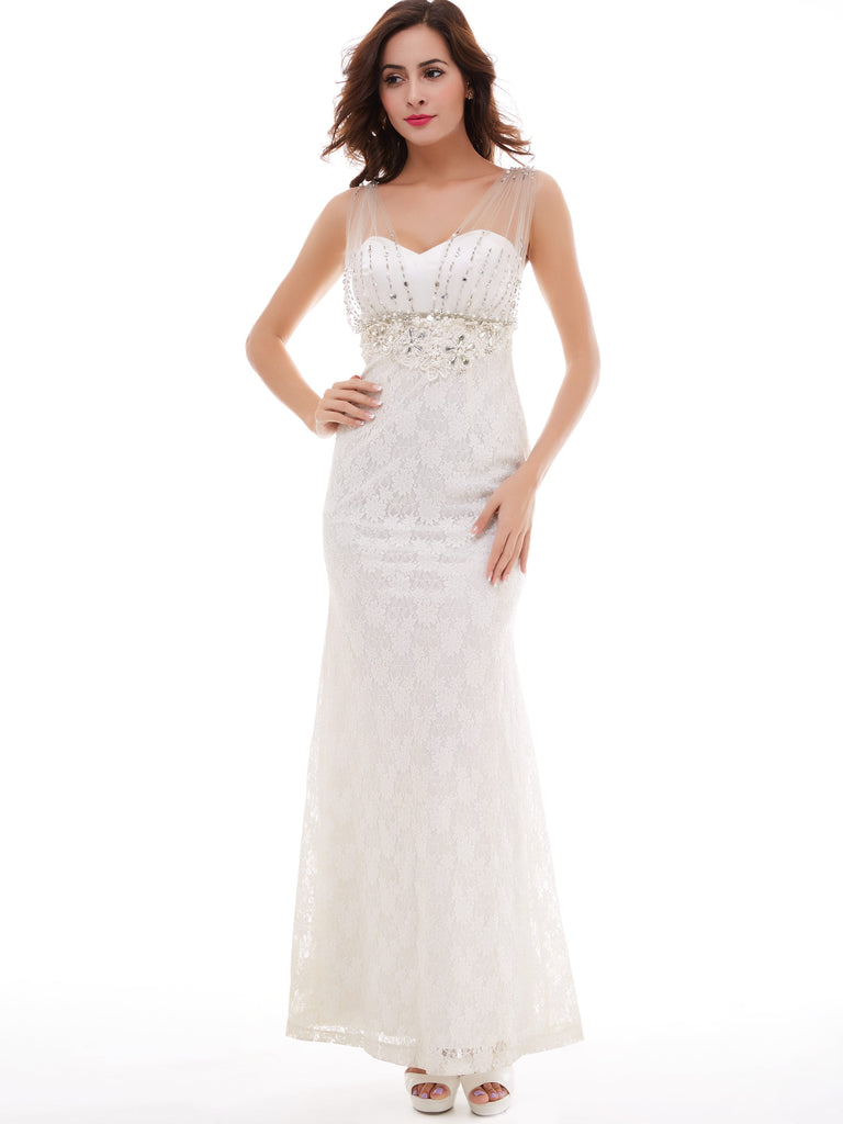 Chic Sheath/Column Prom Dresses Ankle-length White Lace Prom Dress Evening Dress 347453