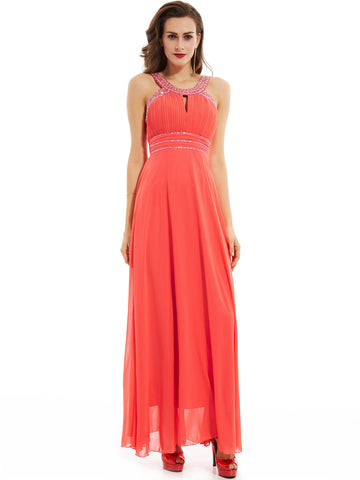 Chic A-line Prom Dresses Ankle-length Modest Chiffon Cheap Prom Dress With Beading 364449