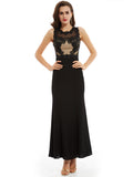 Chic Sheath/Column Prom Dresses Black Long Modest Cheap Prom Dress With Lace 365215