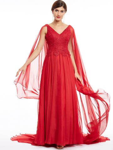 Chic A-line Prom Dresses Long V neck Simple Cheap Red Prom Dress 380829