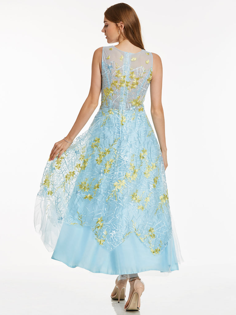 2ada467a1e2 ... Chic A-line Prom Dresses Blue Ankle-length Scoop Modest Cheap Long Prom  Dress ...