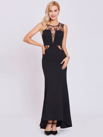 Chic Black Prom Dresses Long Scoop Modest Cheap Long Prom Dress With Lace 399008