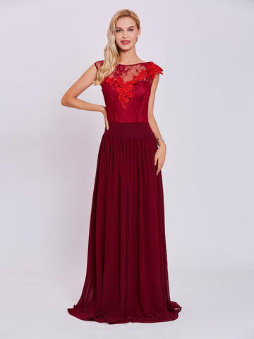Chic Burgundy Prom Dresses Long A line Bateau Lace Beautiful Prom Dress 431930
