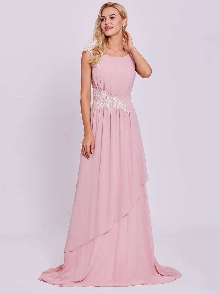 f450b1a218 Chic Pink Prom Dresses Long A line Scoop Lace Cute Prom Dress Evening –  AmyProm