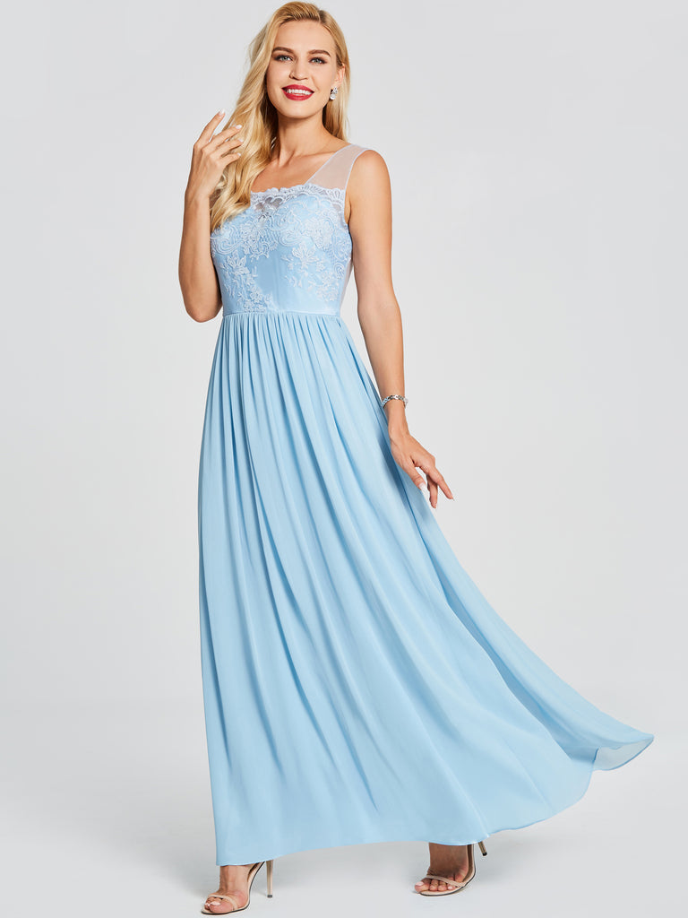Blue Prom Dresses Long A-line Straps Beautiful Prom Dress Evening Dress 451591