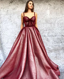 Chic A-line Burgundy Long Prom Dresses Beautiful Prom Dress Evening Gowns AMY3102