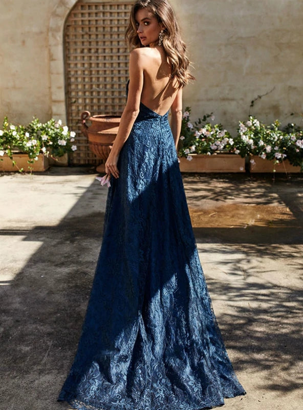 cc9d25c693f8 ... A-line Spaghetti Straps Backless Lace Long Prom Dress With Slit Navy  Formal Gowns Evening