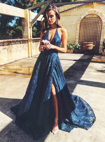 A-line Spaghetti Straps Backless Lace  Long Prom Dress With Slit Navy Formal Gowns Evening Dress AMY3161
