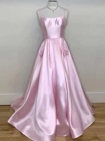 A-line Spaghetti Straps Pink Long Prom Dresses Satin Evening Dress WEK179