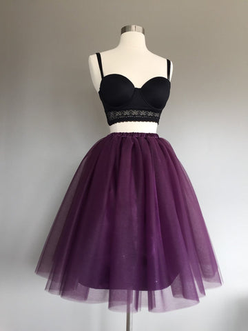 2017 Two Piece Homecoming Dress Simple Tulle Black Grape Short Prom Dress AM001