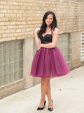 2017 Two Piece Homecoming Dress Simple Tulle Black Grape Short Prom Dress AM003