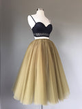 2017 Two Piece Homecoming Dress Spaghetti Straps Tulle Black Short Prom Dress AM004