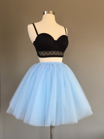 Two Pieces Blue Homecoming Dress A-line Simple Tulle Short Prom Dress AM006