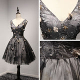 A-line Modest Homecoming Dress V-neck Black Hand-Made Flower Short Prom Dress AM009