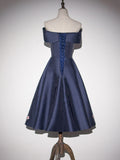 Chic Short Prom Dress Dark Navy Simple Satin Cheap Homecoming Dresses AM012