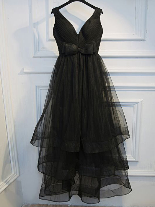Chic Asymmetrical Prom Dress Black Simple Tulle Cheap Homecoming Dresses AM016