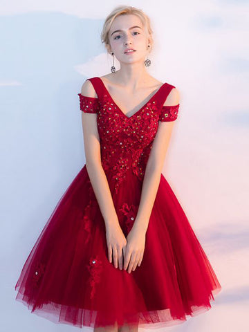 2017 Chic Homecoming Dresses Red Off-the-shoulder Tulle Cheap Short Prom Dress AM017