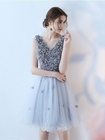 Chic Homecoming Dresses Short A-line V-neck Tulle Cheap Prom Dress AM018