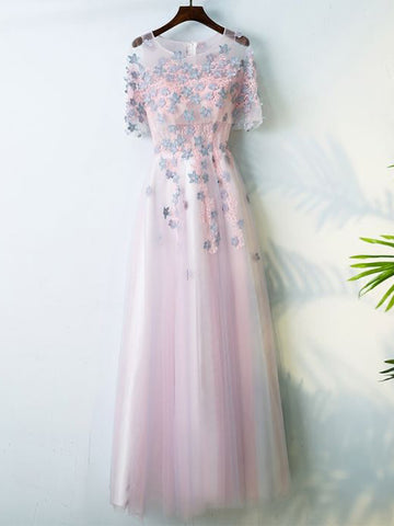 2017 Chic A-line Scoop Pink Applique Tulle Prom Dress/Evening Dress AM021