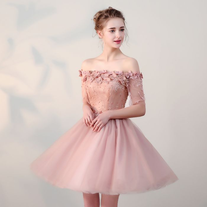 3f346077b6 ... Chic Homecoming Dresses Short Pearl Pink Off-the-shoulder Tulle Cheap  Prom Dress AM022 ...