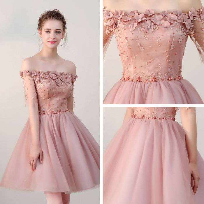 9d3b9ad5bf3 ... Chic Homecoming Dresses Short Pearl Pink Off-the-shoulder Tulle Cheap  Prom Dress AM022 ...