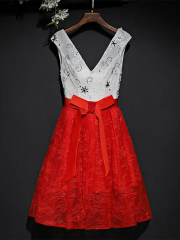 Chic Red Homecoming Dress V-neck Lace Cheap Short Prom Dress AM024