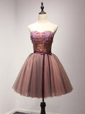 2017 Chic Homecoming Dresses Short Sweetheart Tulle Cheap Prom Dress AM027