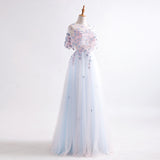 Two Piece Prom Dresses Long Chic Blue Scoop Half Sleeve Tulle Cheap Party Dress AM036