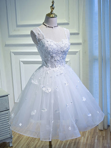 2017 Chic Homecoming Dress Deep Straps White Tulle Short Prom Dress AM041