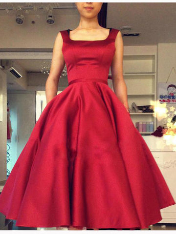 Chic Homecoming Dress Red A-line Square Satin Bowknot Short Prom Dress AM045