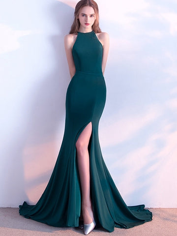 Trumpet/Mermaid Chic Prom Dress Green Scoop Chiffon Evening Party Dress AM046