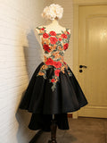 Asymmetrical Chic Homecoming Dress Black Red A-line Scoop Satin Short Prom Dress AM047