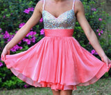 Chic Homecoming Dress A-line Chiffon Straps Pink Rhinestone Short Prom Dress AM050
