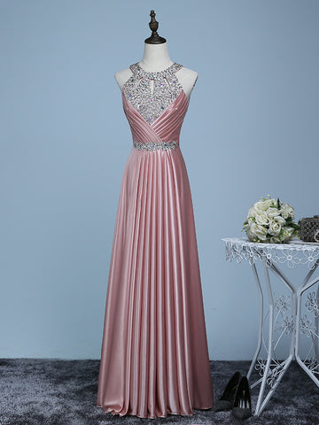 2017 A-line Chic Prom Dress Pink Scoop Satin Evening Party Dress AM053