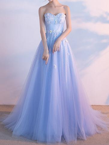 A-line Chic Prom Dress Lavender Sweetheart Tulle Evening Party Dress AM054