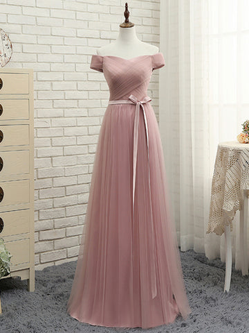 2017 Chic A-line Off Shoulder Pink Ruffles Tulle Simple Prom Dress/Evening Dress AM055