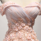 Modest A-line Off-the-shoulder Prom Dress Pink Cheap Chic Evening Party Dress AM056