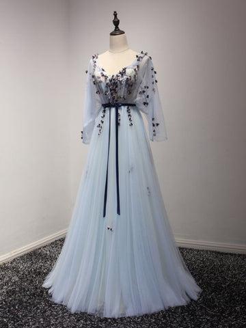 2017 Chic Prom Dress Long Sleeve A-line V-neck Blue Tulle Cheap Evening Dress AM057