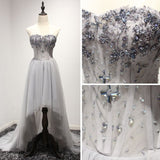 2017 Chic Prom Dress Sweetheart A-line Asymmetrical Silver Tulle Cheap Evening Dress AM058