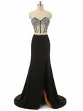 Sheath/Column Two Pieces Sweetheart Long Prom Dress Black Chic Evening Party Dress AM059